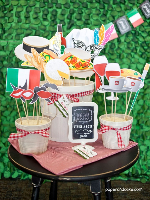 Italian Printable PHOTO BOOTH PROPS Pasta espresso wine