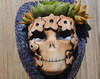 ceramic planter skull wall planter garden skeleton mask