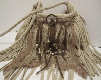 Use Promo n Save!! Shabby Chic Ivory Fringe Cross Body Bag
