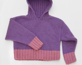 Hand Knit Child's Hoodie Sweater