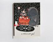 A Friend Like You - grandma havin tea with elephant Card