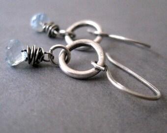 Blue Topaz Earrings, Fine Silver Earrings, Birthstone Earrings, Gift for Her, Free Shipping
