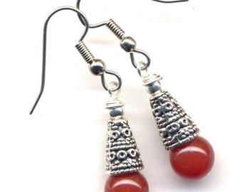 Carnelian Earrings.Orange Earrings, Natural Onyx Earrings, Surgical Steel Earrings - handmade jewelry by AnnaArt72