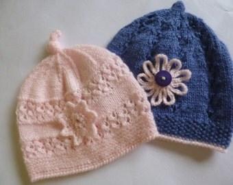 Newborn Baby Hat, Two Newborn Hats, Baby Shower Gift, Take Home Baby, Baby Girl Hats, Newborn Beanie, Baby Bonnet, Knitted Baby Hat.