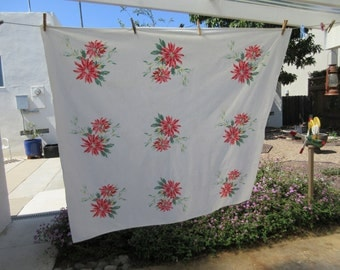 Vintage Tablecloth, Wilendure Floral Tablecloth, Cotton Tablecloth, Floral Tablecloth, Table Covering, Retro Kitchen, Red Flowers Red Floral