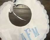 Personalized monogrammed scallop bib in blue, pink or white