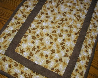 Quilted Table Runner,Fall Leaves and Acorns Runner,   14  x 39 inches