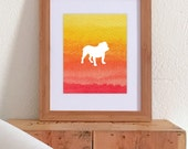 Watercolor Bright Ombre Print - Dog Silhouette - 8 x 10 Print - All Dog Breeds - Watercolor - Ombre