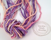 Hand Dyed Silk Ribbon - Silk Cord - Jewelry Supplies - Wrap Bracelet - Craft Supplies - 2mm Silk Cord Strands Ice Cream Sorbet Color Palette