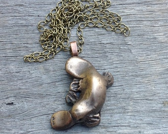 Cold Cast Bronze Platypus Pendant necklace