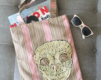 Skull Tote Bag, Canvas Shopping Bag, Reusable Tote Bag, Khaki, Beach Bag