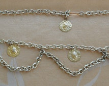 Pretty Vintage Gold tone Coin Chain Belt, Adjustable (AJ4)