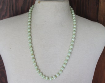 Vintage Necklace Pastel Green Satin Beaded Necklace Pale Green Vintage 1960's 1970's