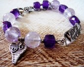 Love is in the Air - Artisan Bracelet / Amethyst Cubes and Beads, Artisan Silver