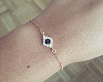 Rose Gold Evil Eye Bracelet