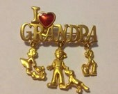 Danecraft vintage I love grandpa dangle charms gold tone brooch