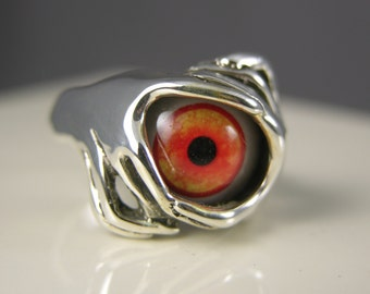 Size 6 Sterling Silver Flaming Red Eye Ring