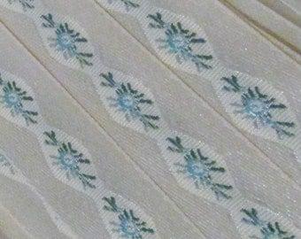 "Cream Blue Victorian Floral Jacquard Ribbon Trim Blue Roses Ivory Satin Trim 4 Yards x 1.25"""
