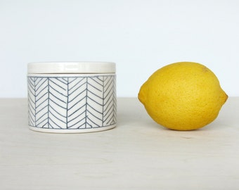 Ceramic Herringbone Salt Cellar in White  - Made to Order
