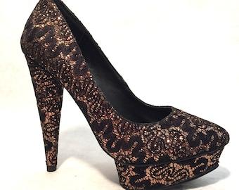 Vintage High Heels Retro Metallic Bonze Heels Black Heels Glitter Heels Pin Up Heels Sexy Platform Stiletto Heels Size 7.5Black High Heels