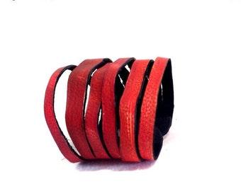 50% OFF SALE Red women leather wrap bracelet. Leather jewelry