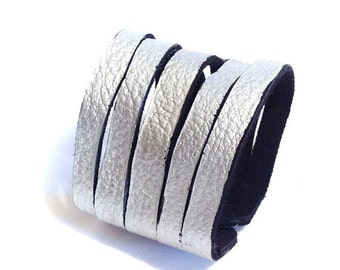 50% OFF SALE Leather bracelet.Silver multi straps wrap leather bracelet. Leather jewelry