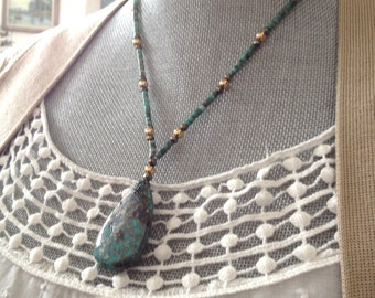 "turquoise pendant gold bead necklace 14k gold filled beads and clasp- ""Earth and Sky"" Lorelei Novak Jewelry"