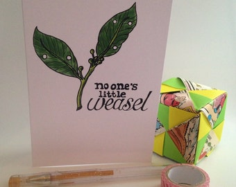 SALE No One's Little Weasel (Amelie) - illustration greeting card