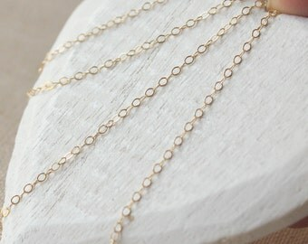 Dainty 14kt Gold filled chain necklace, collier a chaine, 18 inch gold filled plated,  1.7mm link superb quality gold chain soldered SF165