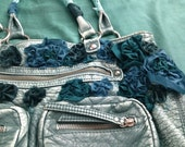 Upcycled Turquoise Purse: Twisted Flower with Recycled Fabric
