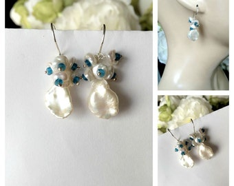 Keishi Pearl Cluster Earrings Wire Wrap Sterling Silver Teal and White Pearl Earrings Wedding Bridesmaid Neon Apatite Blue Gemstone Cluster
