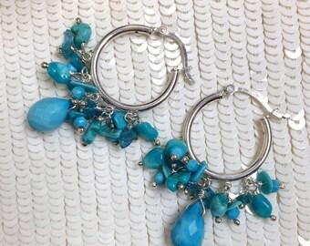 Turquoise Hoop Earrings Sterling Silver Bohemian Hoop Earring Apatite Wire Wrap Turquoise Silver Hoop Earrings Petite Dangling Gems