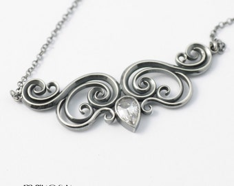 SALE Scroll Sterling Silver Handmade Necklace