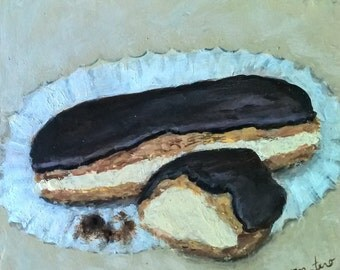 "Eclairs, 5"" x 5"" small, acrylic food painting of two chocolate eclairs."