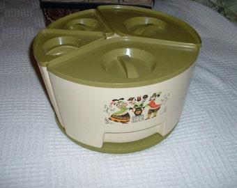 Vintage Retro Sterilite Lazy Susan Canister Set Olive Green SALE