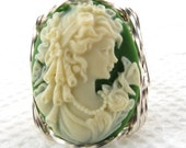 Goddess Butterfly Cameo Ring Sterling Silver Jewelry Size Selectable