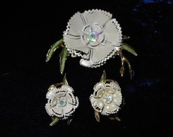 Vintage Enamel Flower Brooch with Matching Earrings