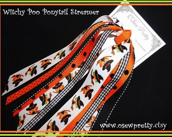 Halloween Hair bows,Halloween Ponytail Streamers.Halloween Witch,Black and Orange Hair Bows