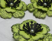 A Bit of an Elegant Asian Flair- Electric Green and Black Flowers-Set of 3