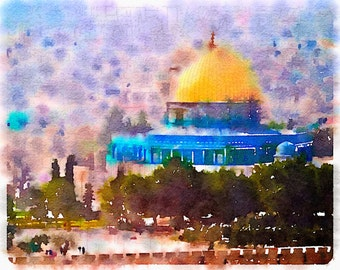Dome of the Rock, Jerusalem, Original artwork by me, Middle East Art, Giclee Print, Home Decor, Art Prints Posters, Unique Gift, Religious