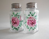 Pink Roses Salt and Pepper Shakers Jars Handpainted Shakers Roses Kitchen Small Size Clear Glass Roses Salt Pepper