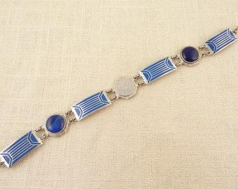 SALE --- Antique 1940s Silvertone Blue Enamel and Glass Sigma Phi Alpha Link Bracelet