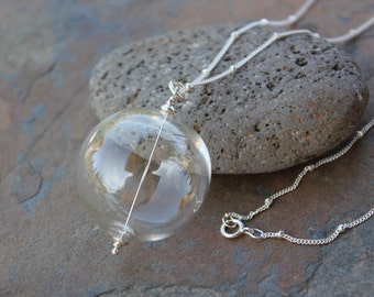 Bubble Necklace - Hollow clear blown glass bubble bead, delicate sterling silver satellite chain- free shipping US - 16, 18, 20, 24 inches