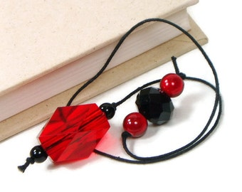 Red Black Beaded Bookmark Book Thong Book Cord String Bookmark Gift under 5 Book Club Teacher Gift