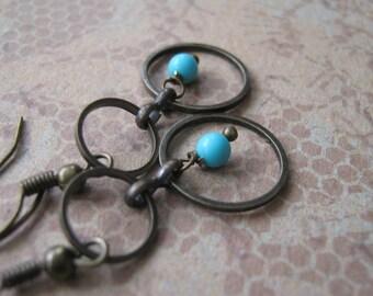 Turquoise Stone Bead Earrings - Brass Earring Hooks - Natural Stone Jewelry