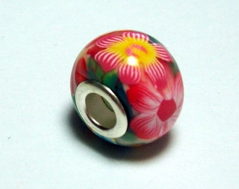 Large Hole Bead Handmade from Polymer Clay - Flower Pattern - Pink and Orange
