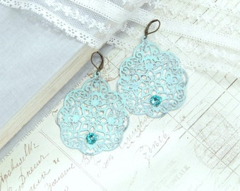 Aqua Blue Boho Earrings Blue Dangle Earrings Extra Large Earrings Bohemian Earrings Blue Dangle Earrings
