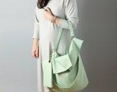 Soft hobo bag in mint green vegan fake leather - slouchy vegan hobo bag, minimalist bag, chic hobo bag