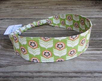 Fabric Headband with Elastic: Green and Orange Floral
