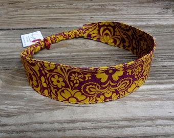 Fabric Headband with Elastic: Burgundy and Gold Floral